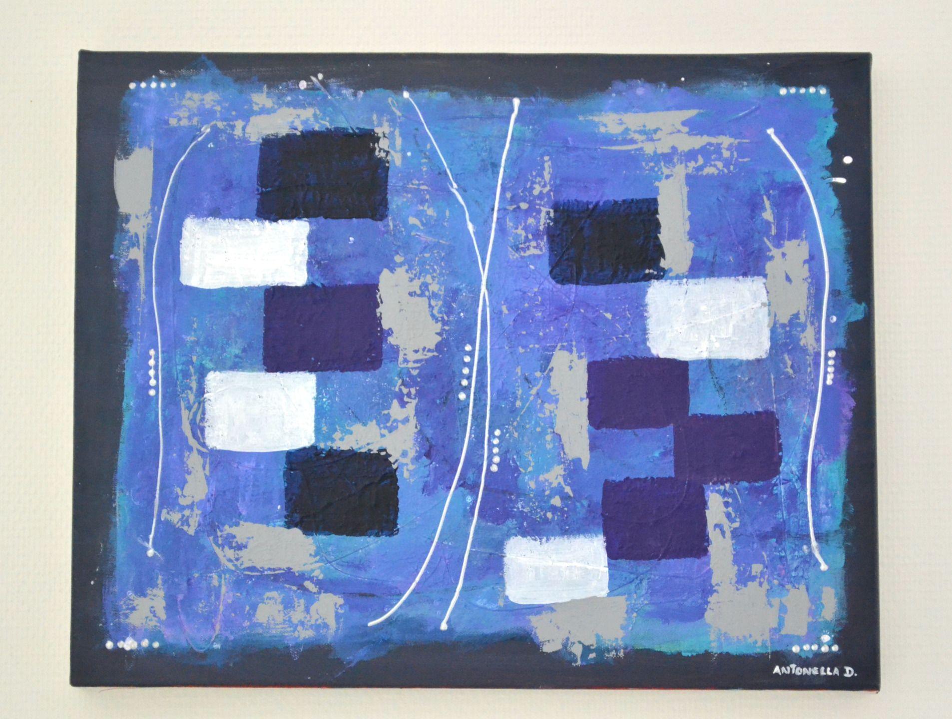 Tableau moderne abstrait tableau abstrait color bleu turquoise gris tableau contemporain - Tableau bleu turquoise ...