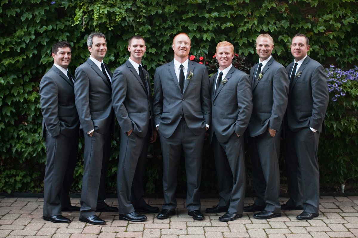 Charcoal gray groomsmen suits with black ties groomsmen