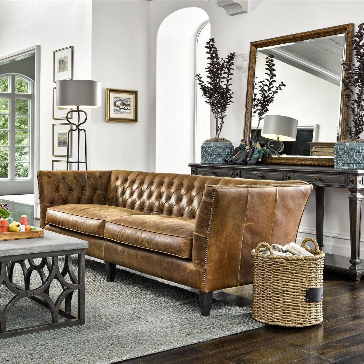 Duncan Chestnut Tufted Leather Sofa 98 Leather Couches Living Room Living Room Leather Most Comfortable Couch
