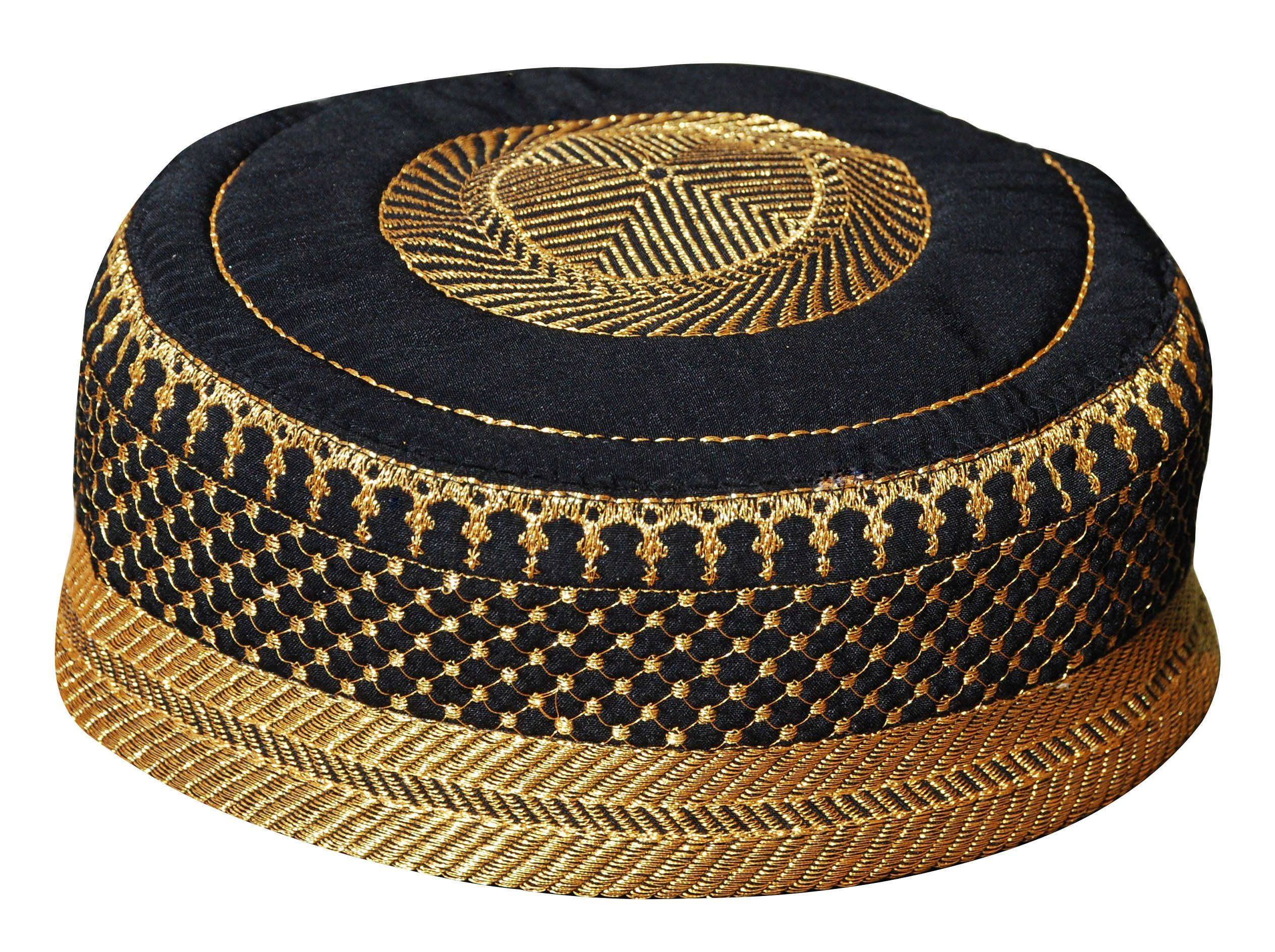 58d3ca4e351 Amazon.com   Black Metallic Gold Embroidered Padded   Quilted Soft Kufi Hat  Large Skull Cap 23-inch   Everything Else
