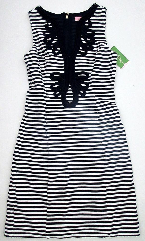 LILLY PULITZER Small JANICE True Navy Blue & White OTTOMAN Stripe Dress NWT S #LillyPulitzer #Shift #WeartoWork