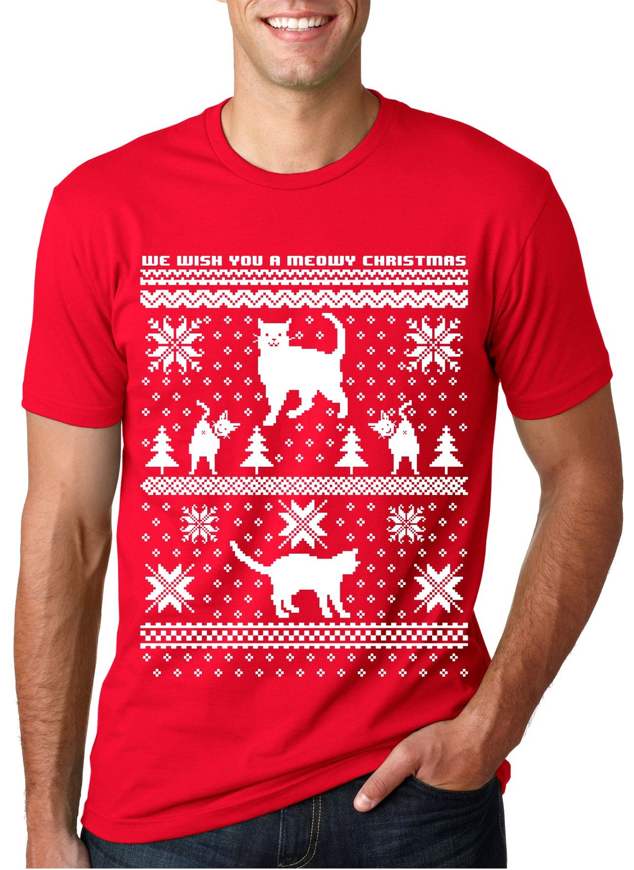6533c678287 The super soft t-shirt printed with a funny cat ugly sweater design to  celebrate Christmas in!