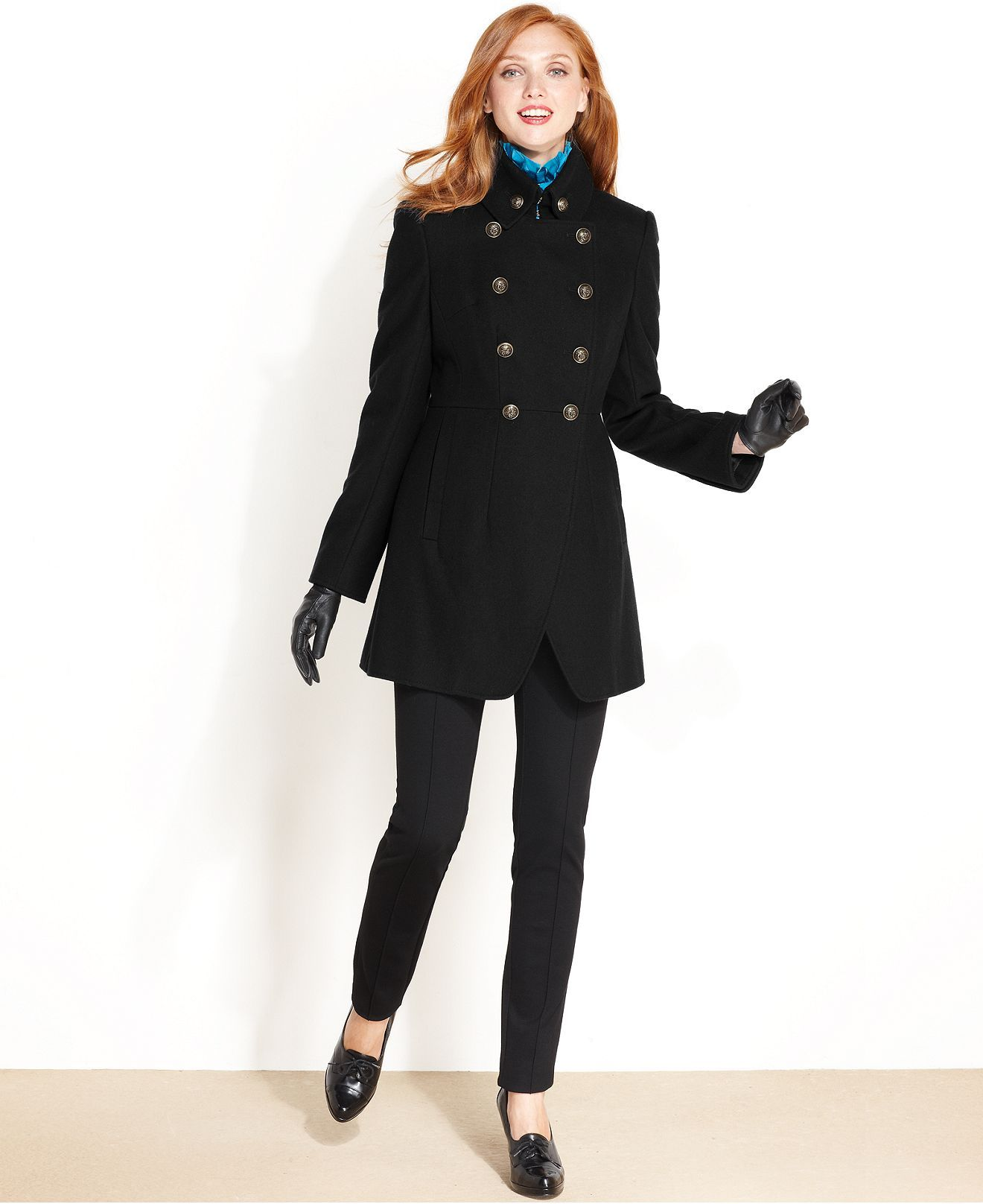DKNY Coat, Military Double Breasted Wool Blend Womens