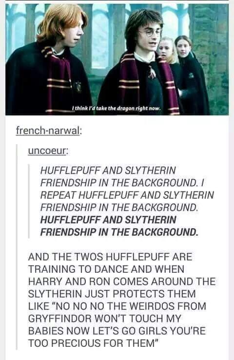 Hufflepuff x slytherin friendship is the best friendship ...