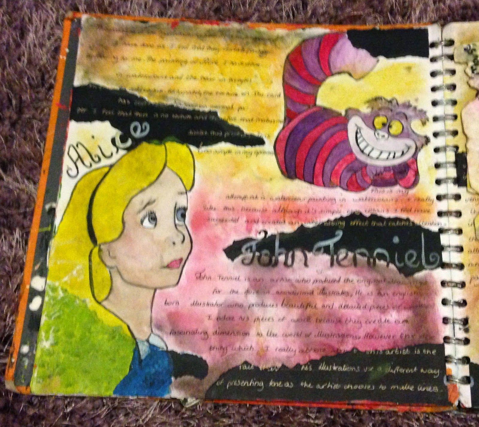 Page from GCSE art alice in wonderland themed sketchbook ...