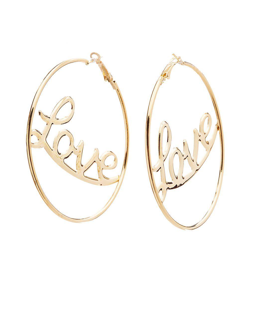 Love Hoop Earrings Charlotte Russe