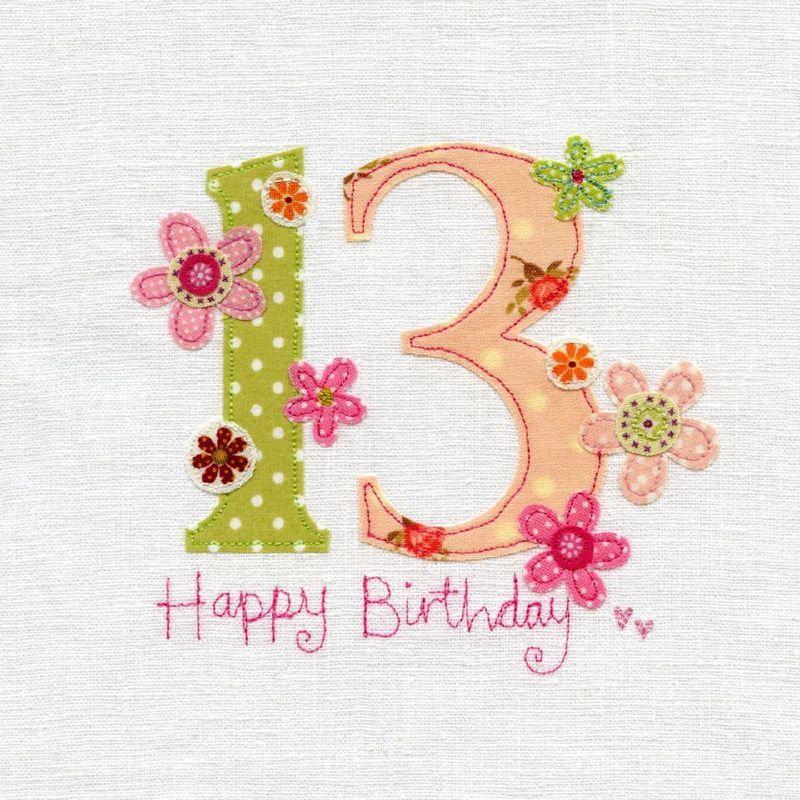 Hand Finished 13th Birthday Card Happy birthday Pinterest 13th