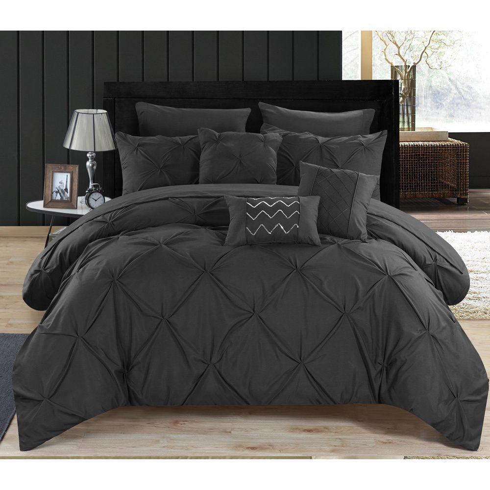 Chic Home Valentina Black Pintuck Microfiber 10-Piece Bed
