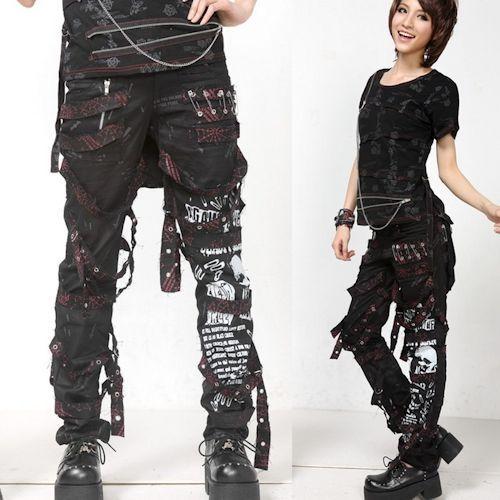 de5fe5b38bb6f Cool Men Women Black Skull Emo Goth Punk Alternative Pants Trousers ...