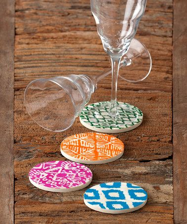 Look what I found on #zulily! Geometric Painted Coasters - Set of Four #zulilyfinds