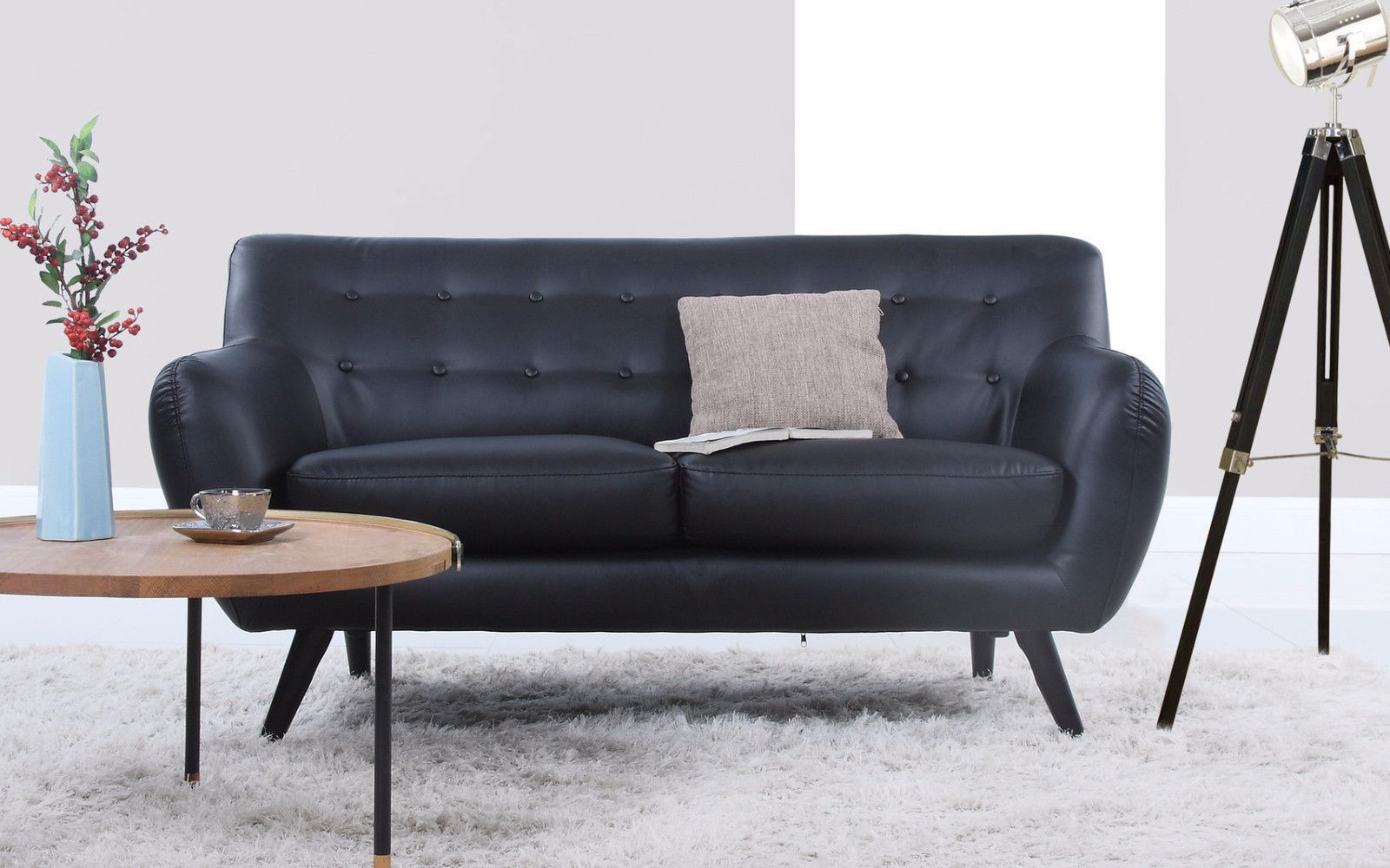 Nico Mid Century Modern Bonded Leather Loveseat