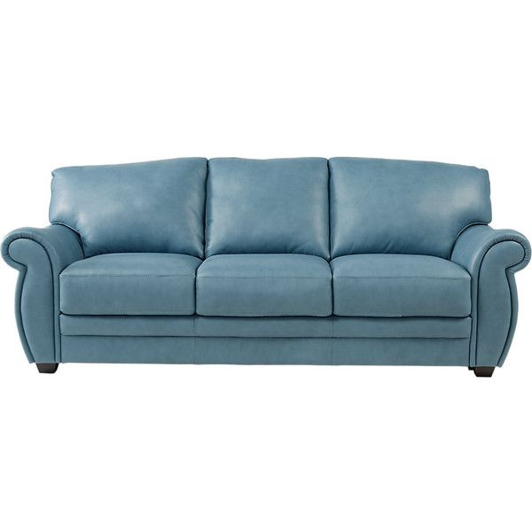 Martello Blue Leather Sofa 1 100 Liked On Polyvore Featuring Home Furniture Sofas Leather Couc Blue Leather Sofa Blue Leather Couch Living Room Leather