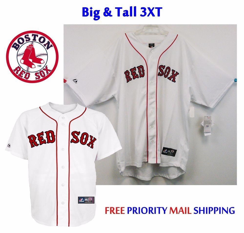 66246c9e Boston Red Sox Majestic Big & Tall 3XT Replica Jersey NWT White $110R  SewnOn #Majestic #BostonRedSox