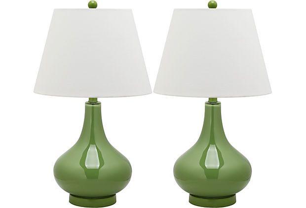 Samuels Table Lamp Set Fern Green On Onekingslane Com Green Table Lamp Glass Table Lamp Lamp