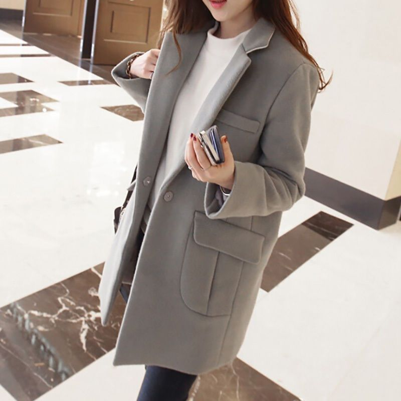 2016 Spring New Fashion Black Ladies Coats Women Slim Long Coat Winter Overcoat…