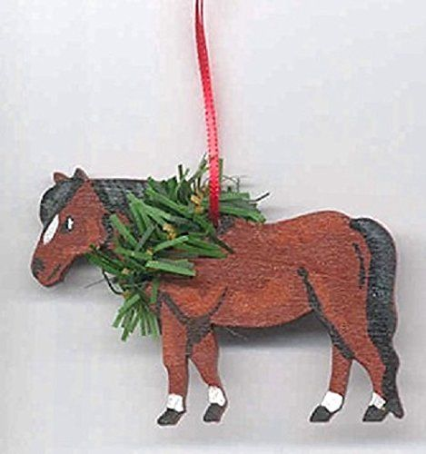 Hand-Painted SHETLAND PONY Horse Wood Christmas Ornament ...