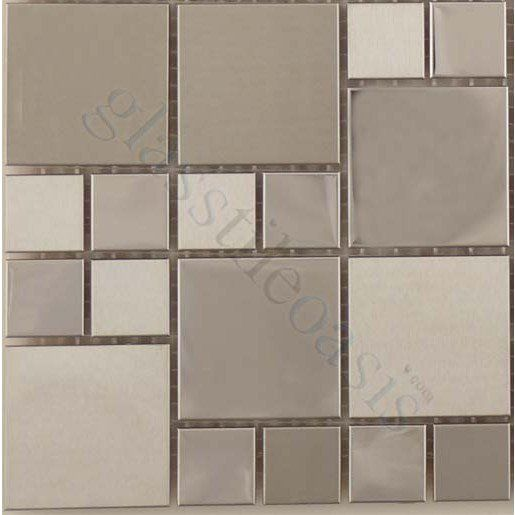 Sheet Size 11 3 4 X 11 3 4 Tile Size Random Squares Tiles Per Sheet 70 Tile Thickness 1 Metal Tile Backsplash Stainless Steel Tile Metal Tile