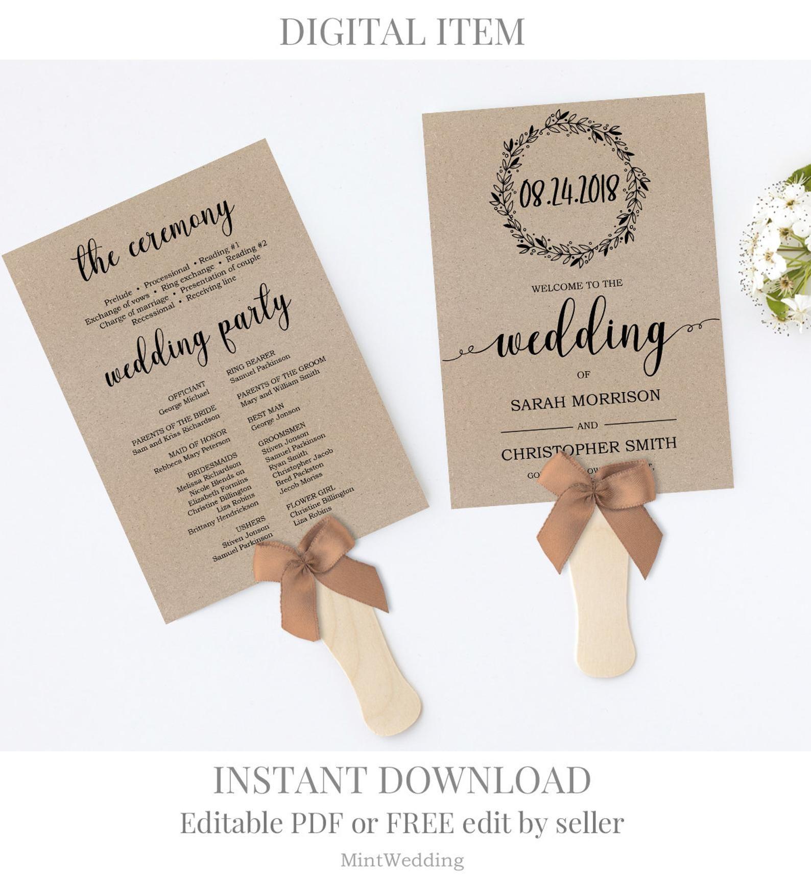 Rustic Design Rustic Wedding Program Fan Template Instant Download Fan Wedding Program Template Ceremony Program