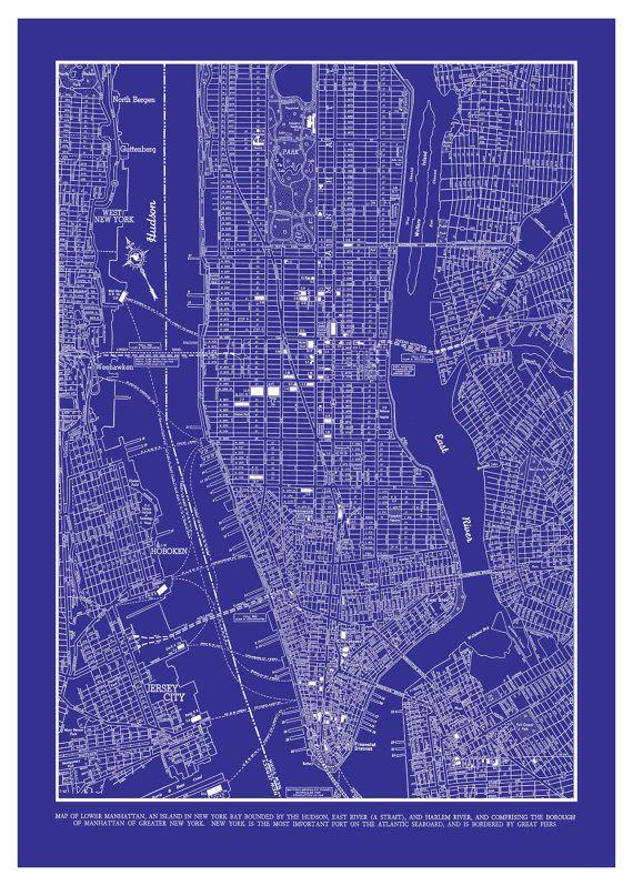 New york city map manhattan street map vintage blueprint art new york city map manhattan street map vintage blueprint malvernweather Gallery