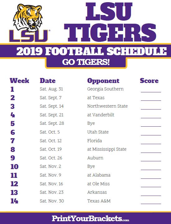 2019 Lsu Tigers Football Schedule Lsu Lsu Tigers Football Lsu Football Schedule