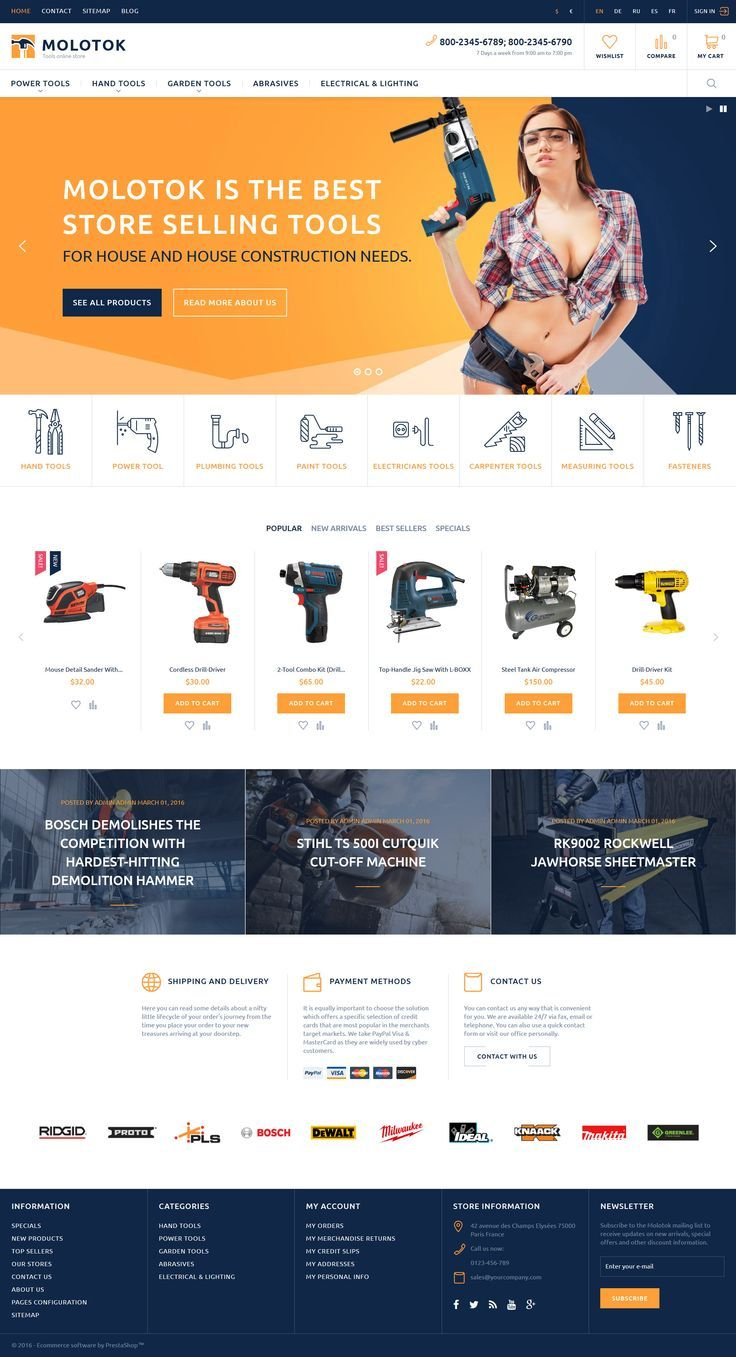 Hardware Tools eCommerce Template - Molotok PrestaShop Theme