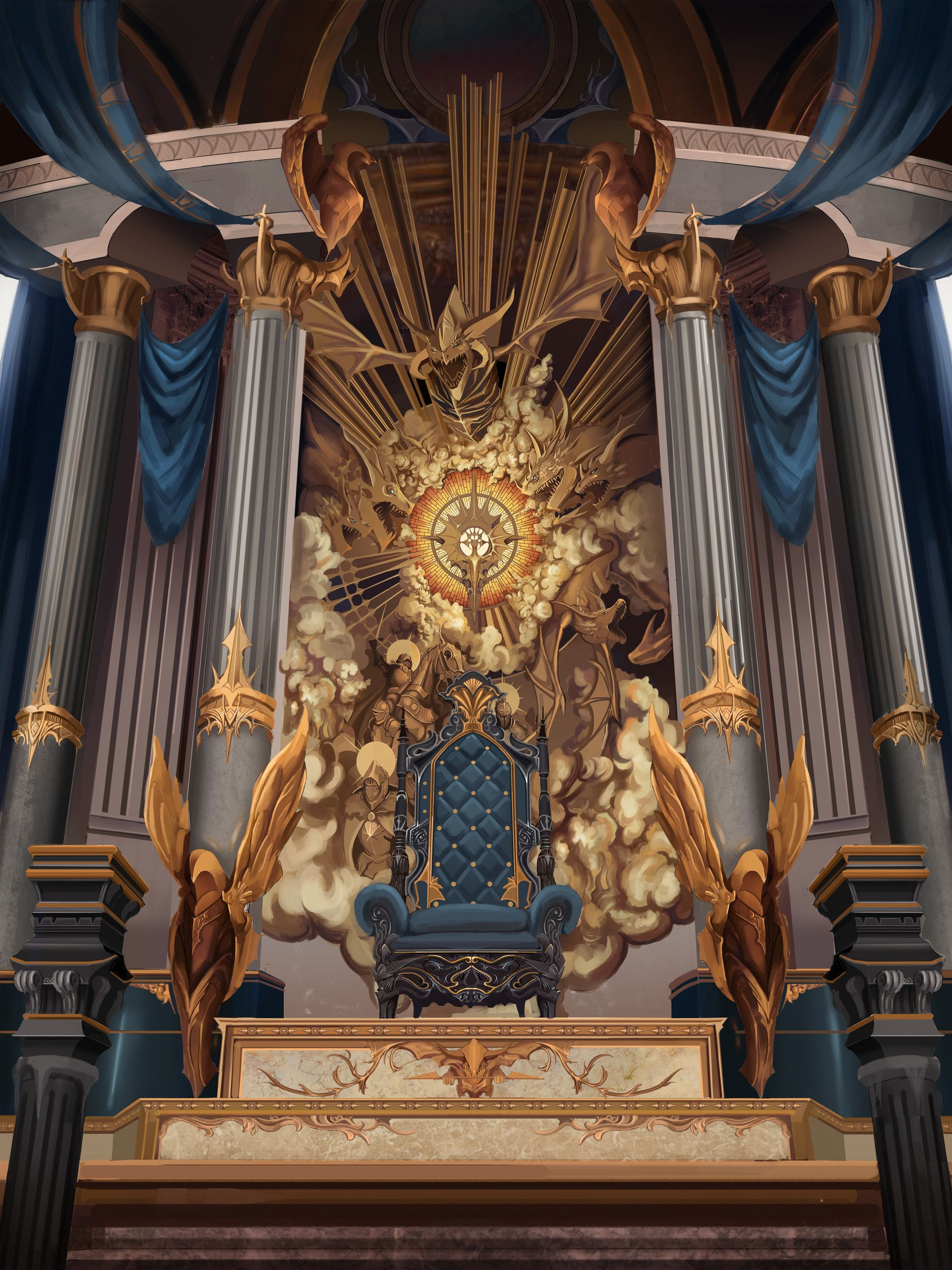 Artstation Dragon King Throne Kim Soung Min Fantasy Castle Throne Room Fantasy Concept Art