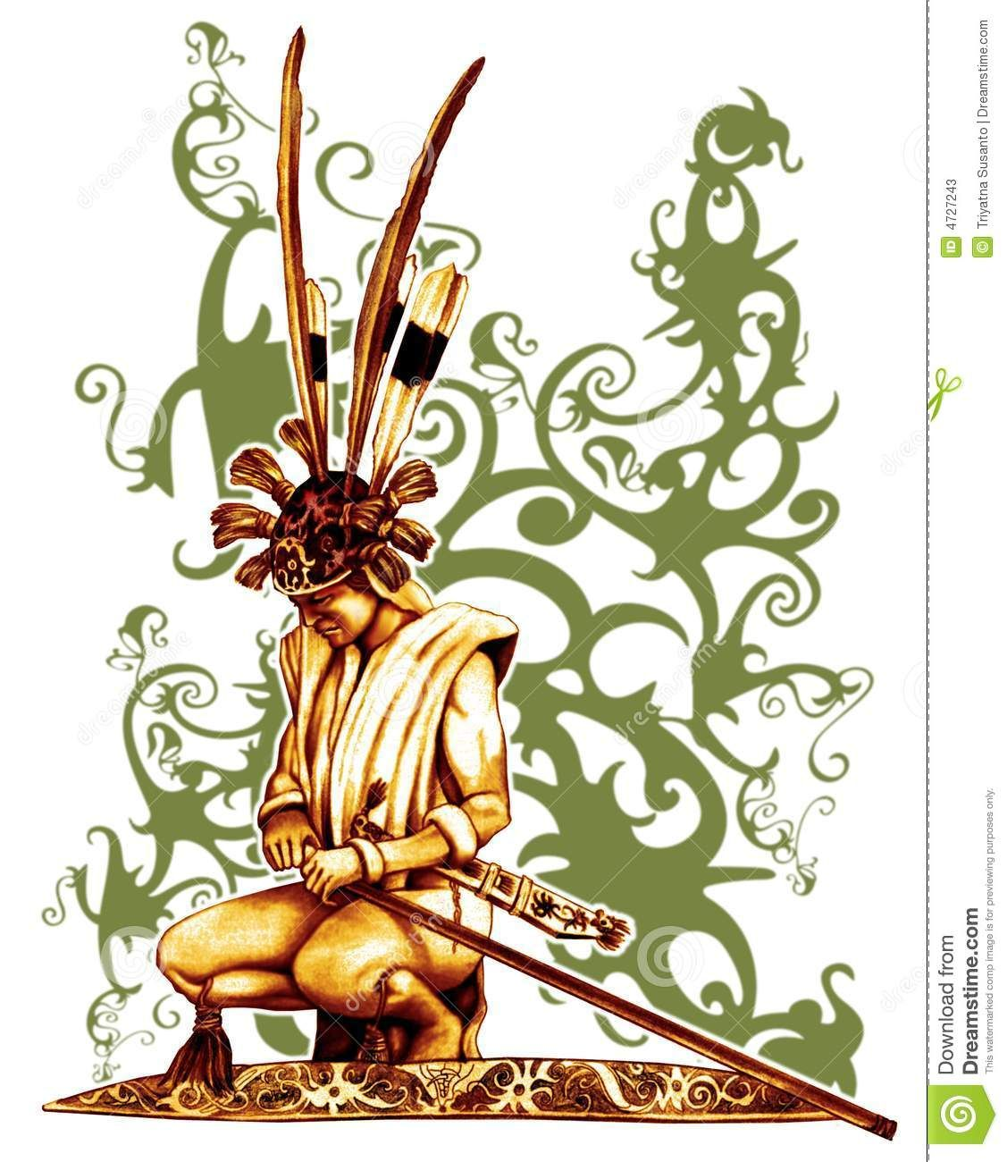 Warrior Of Dayak stock illustration. Illustration of ethnic - 4727243