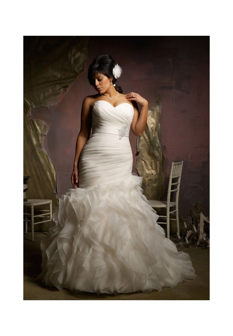 Wedding dresses for large busts  Wedding Dresses By Julietta featuring  Ruffled Organza Removable