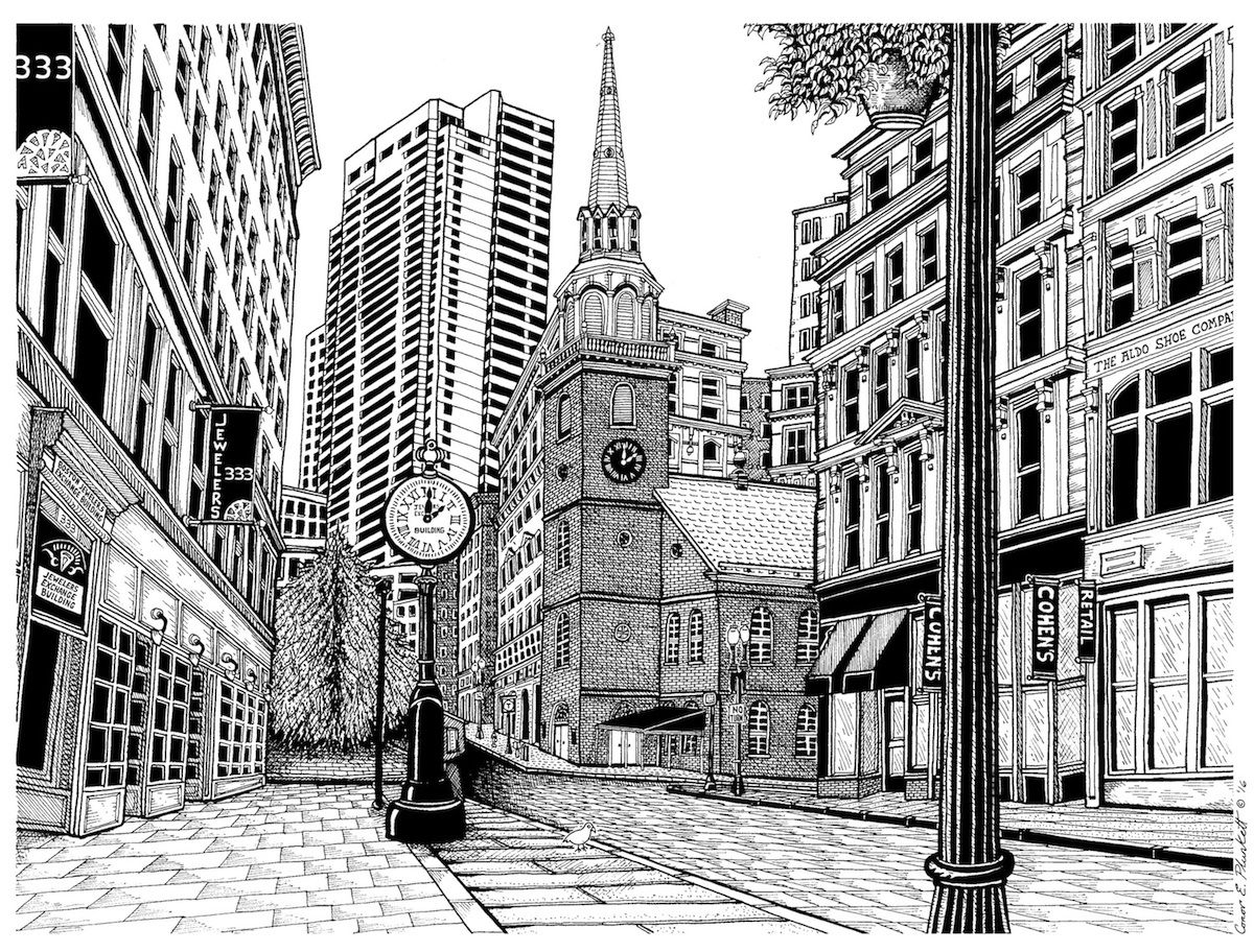 A pen & ink drawing of Downtown Crossing in Boston, MA with
