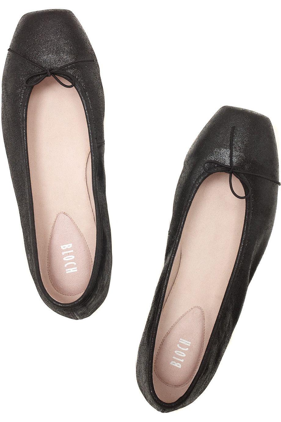 Black Stardust leather square-toe