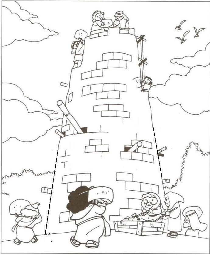 Tower of Babel Coloring Page | Actividades para Escuela Dominical ...