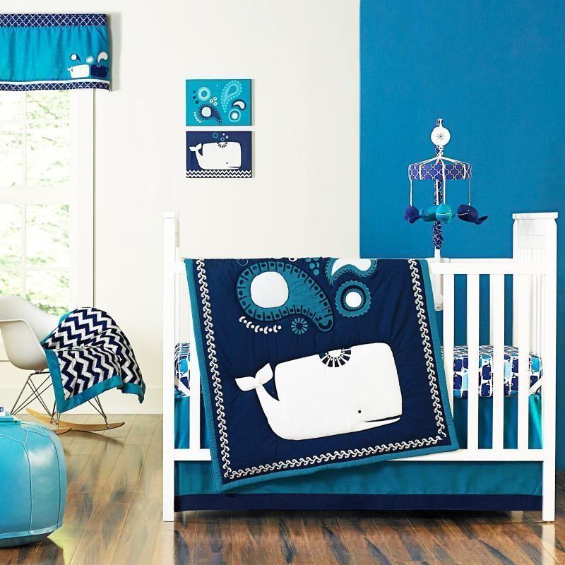 Sea Whales Blue Ocean Aquatic Baby Boys Nursery 4 Piece Infant Crib Bedding Set Crowncrafts