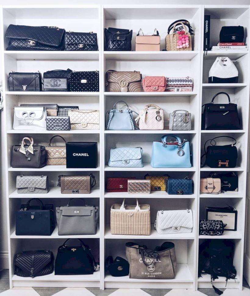 Handbag collection Designer bags closet organisation
