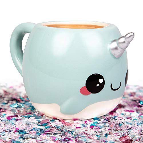 Narwhal, Unicorn of the Sea Coffee Mug – 18 oz Glitter Galaxy – Nizzle the Narwhal #coolmugs