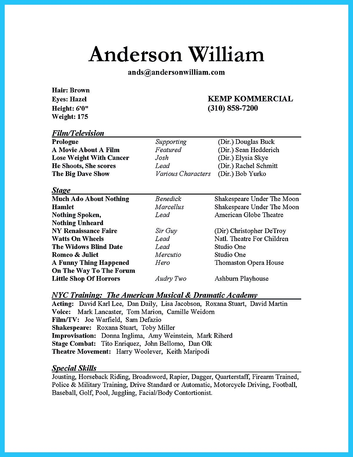 The Acting Resume Format Can Be In Simple Order As You Will... Acting  Resume Template Download