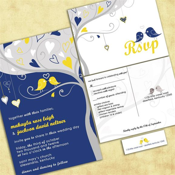 Shopping By Color Navy Blue Yellow Invitations And Paper Goods