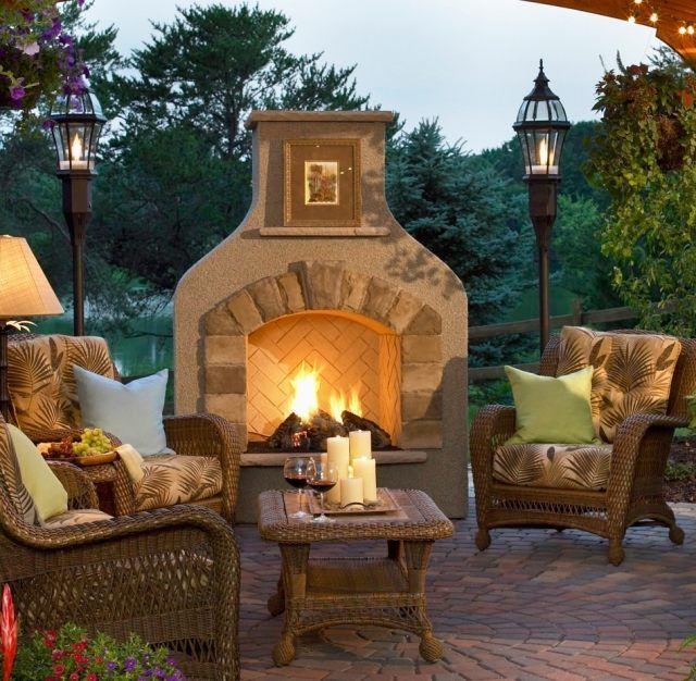 gartenkamin offen holz ideen terrasse rattan möbel | Garten ...