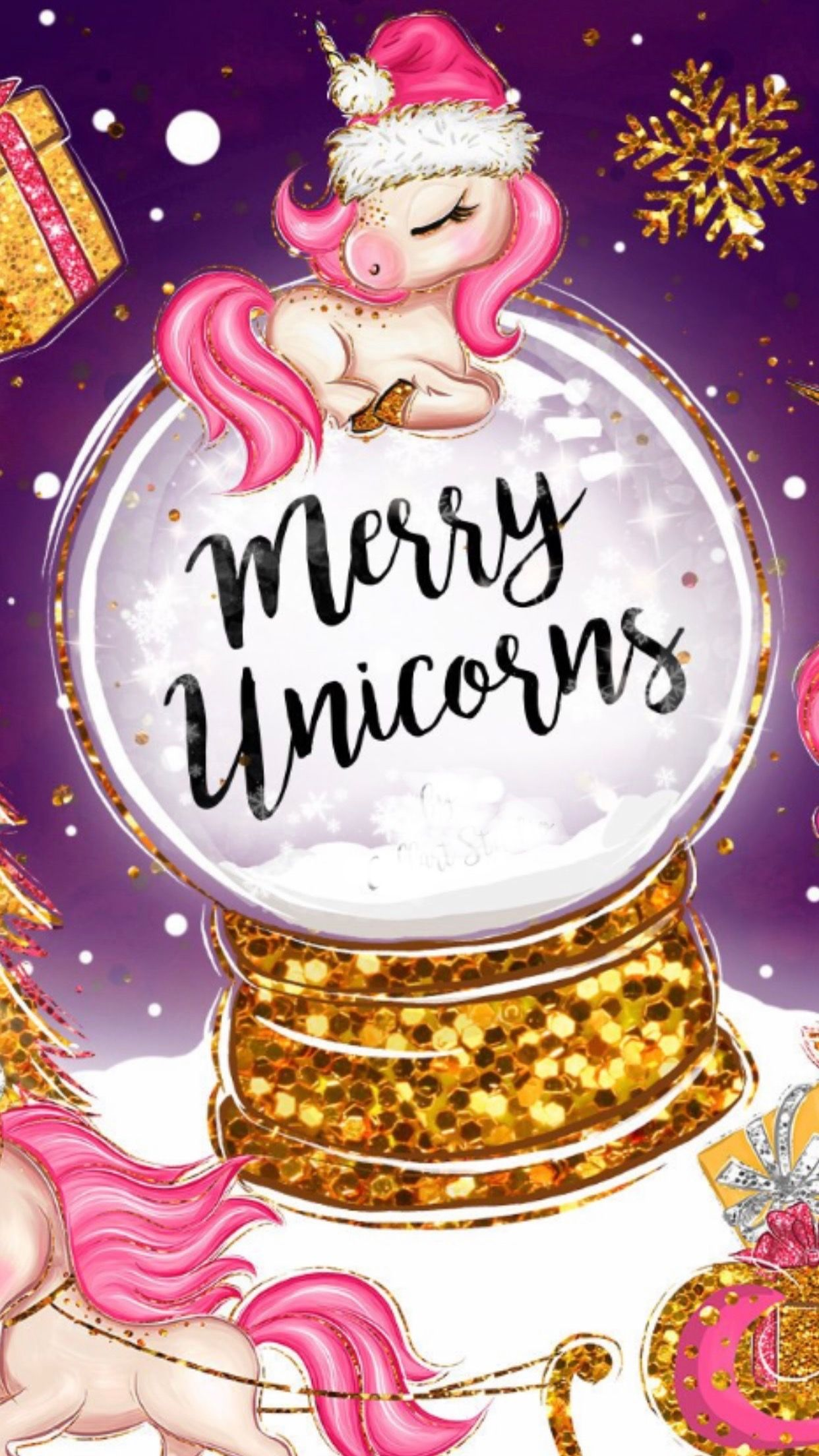 Pin By Monika Elrod On For Z Christmas Unicorn Unicorn Wallpaper Cute Christmas Wallpaper