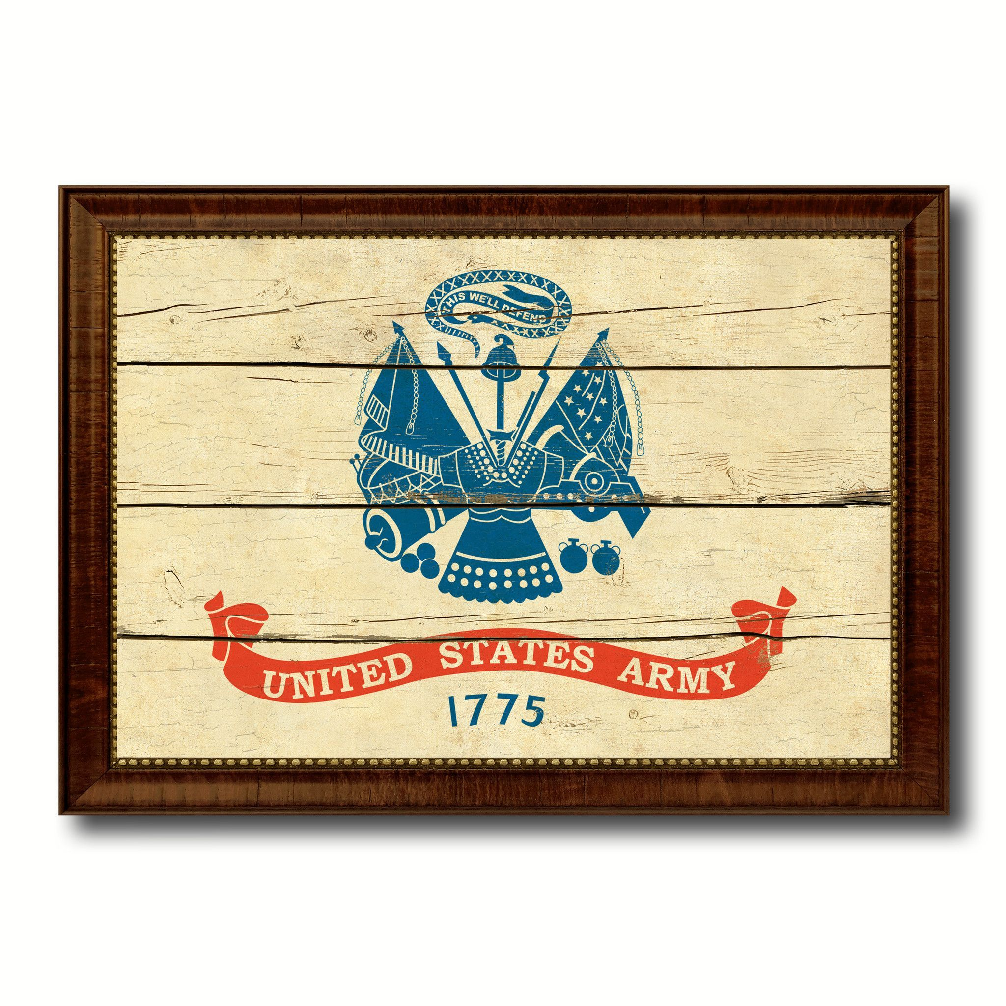 US Army 1775 Military Vintage Flag Brown Picture Frame Gifts Ideas ...
