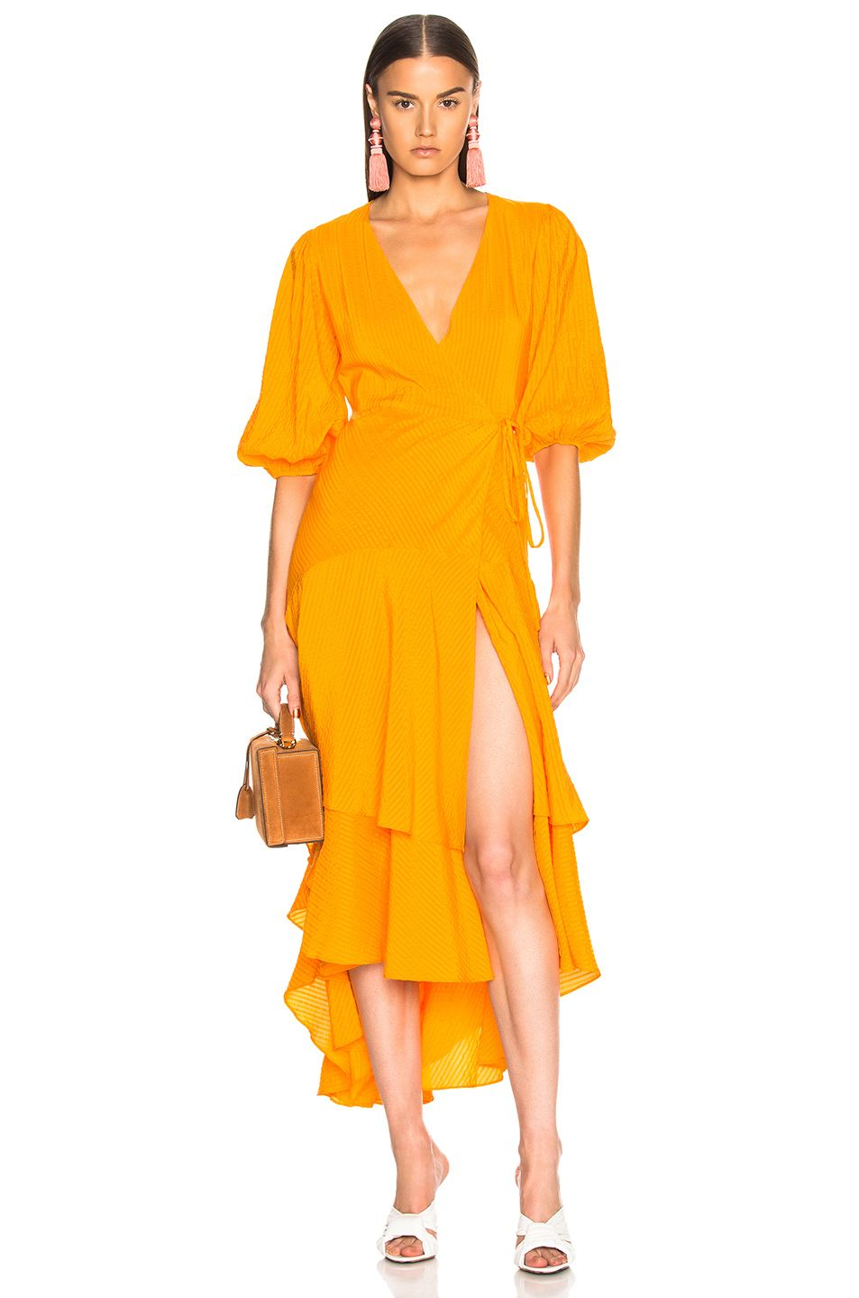 472bd139de Image 1 of Ganni Wilkie Seersucker Dress in Turmeric Orange