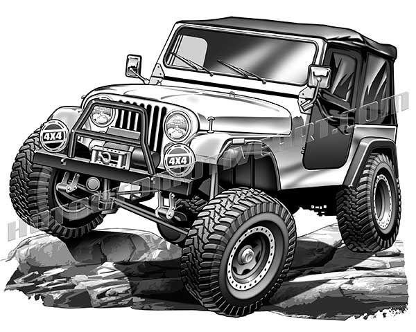 Jeep Climbing Rocks Jeep Cj Jeep Art Jeep Drawing