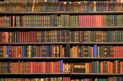 old school library bookshelf