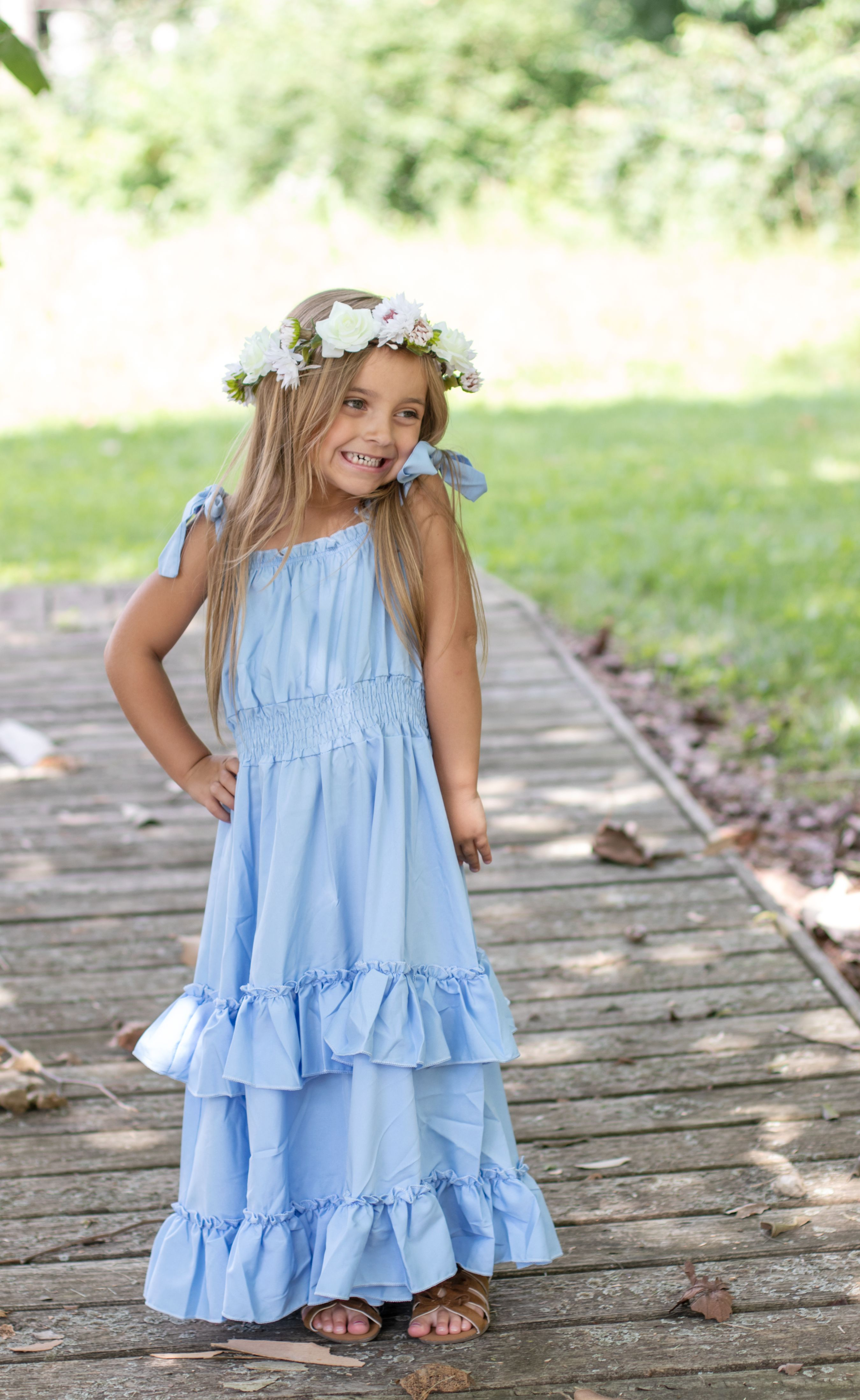 Boho Ruffle Blue Maxi Girls Dress Flower Maxi Dress Girls Dresses Dresses [ 4397 x 2700 Pixel ]
