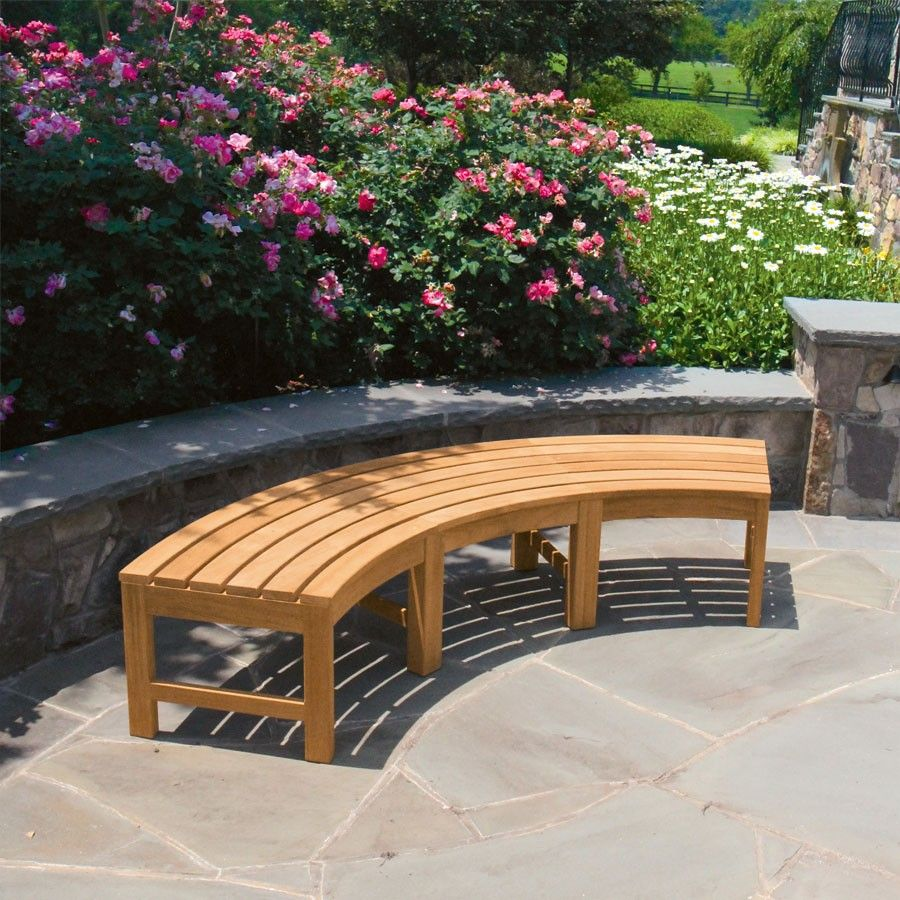 Teak Benches Circa Curved Backless Bench