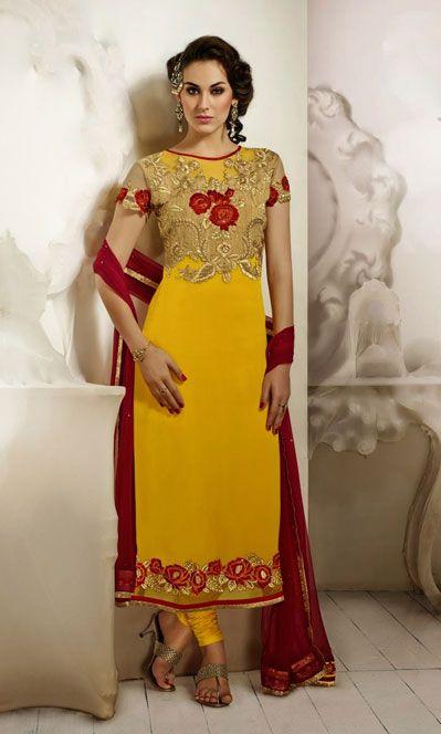 USD 63.79 Yellow Georgette Flower Patch Work Party Wear Suit 40699