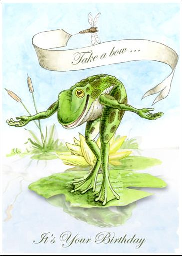 Take A Bow Frog Victorian Birthday Card Frosch Illustration