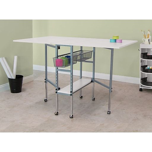 Offex Hobby And Craft Cutting Table With Drawers Silver