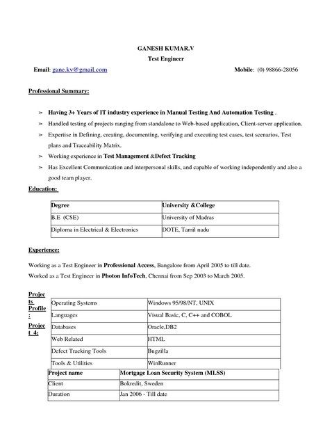 Simple Resume Format Download Simple Resume Format Pinterest - manual testing resumes