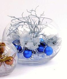 Bowl Of Blue And Silver Balls Blue And Silver Winter Decor Silver Christmas Decorations Christmas Centerpieces Christmas Arrangements