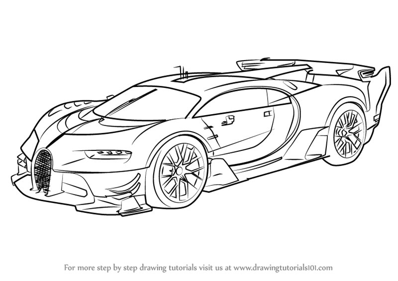 Learn How To Draw Bugatti Vision Gran Turismo Concept Cars Step By Step Drawing Tutorials Race Car Coloring Pages Bugatti Drawings